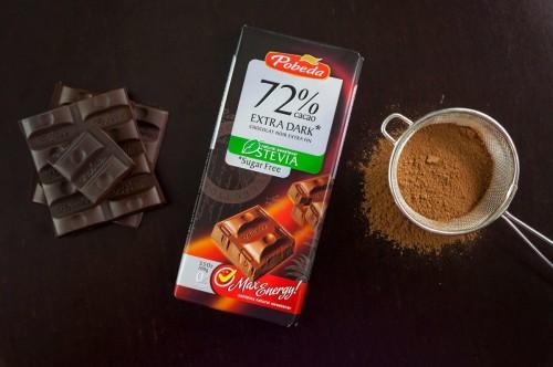 Juodasis šokoladas be cukraus su saldikliu, 72 proc. kakavos ~100 g.