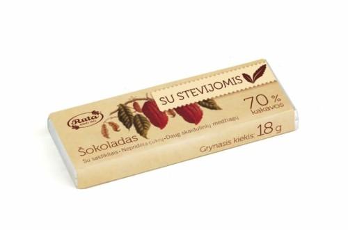 """Šokoladas """"Rūta"""" 70% su stevija, 18g."""