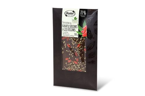 Šokoladas 70% su stevija, kanapių sėklomis ir goji uogomis, 100 g.